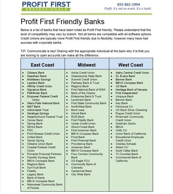 Profit First Bank Accounts 02-19