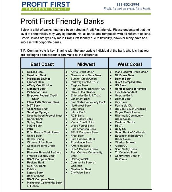 Profit First Bank Accounts 02-19
